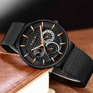 Luxury Brand Fashion Stainless Steel Mesh Strap Ultra Thin Water Resistance Quartz Men's Watches 9836