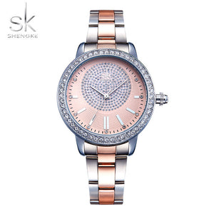Luxury Rose Gold Watch Crystal Women Quartz Watches