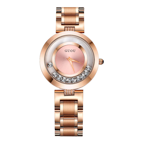 Luxury Rose Gold Rhinestone Women's Watches Stainless Steel Band