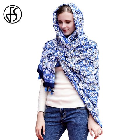 Luxury Geometric Print Silk Satin Shawl Scarf