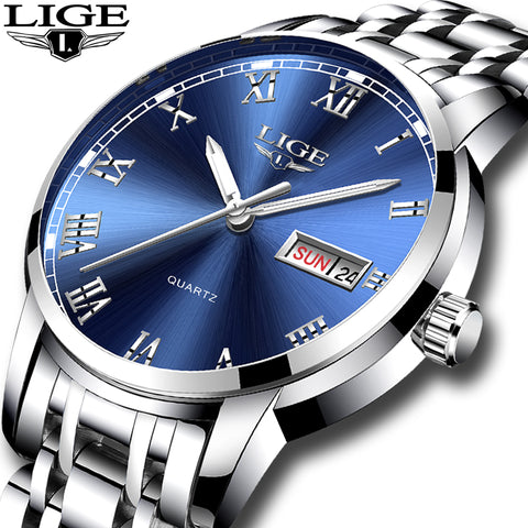 Luxury Brand Full steel Date Quartz Water Resistance Men's Watches 9846