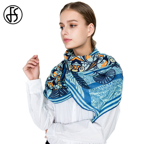 Luxury Totem Leaves Print Shawls Scarf
