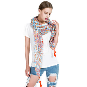 Geometric Diamond Tassel Pashmina Cotton Linen Shawl Scarf For Women