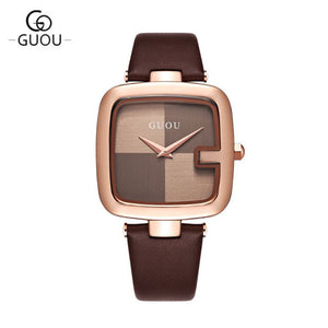 Luxury Fashion Square Quartz Water Resistance Ladies Wrist Watches with Leather Watchband