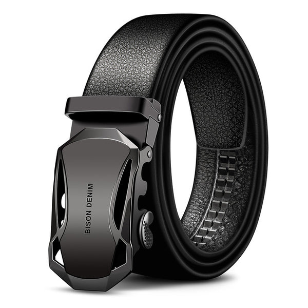Automatic Buckle Black Genuine Leather Belts for Men