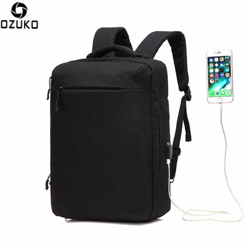 "OZUKO 15.6"" Laptop Men School Backpack with USB Charging port"