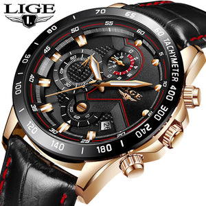 Luxury Fashion Gold Quartz Clock Water Resistance Men's Watch with Leather Band 9874