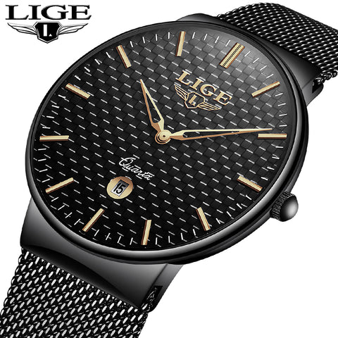 Luxury Brand Fashion Stainless Steel Mesh Strap Ultra Thin Water Resistance Quartz Men's Watches 9868