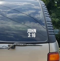 SCRIPTUREFERENCES  - Vinyl Window Decal -  John 3:16