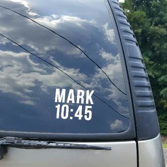 SCRIPTUREFERENCES  - Vinyl Window Decal -  Mark 10:45