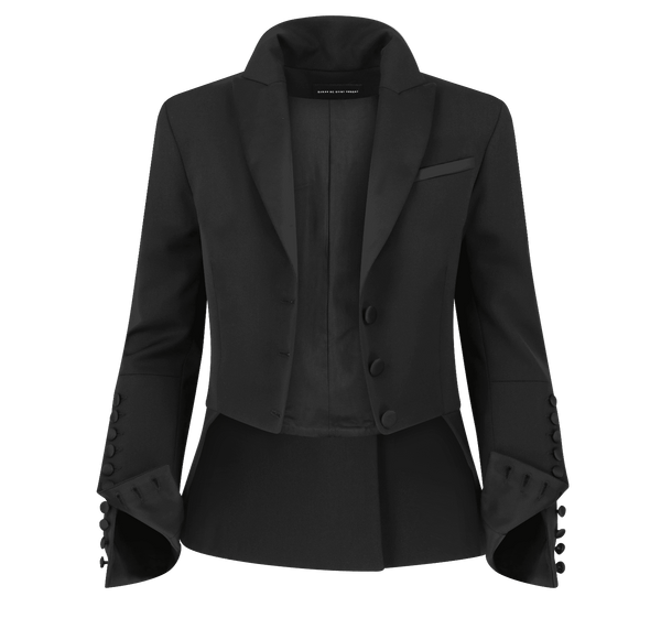 SARAH DE SAINT HUBERT satin black jacket made of virgin wool. Feminine rock'n'roll silhouette.