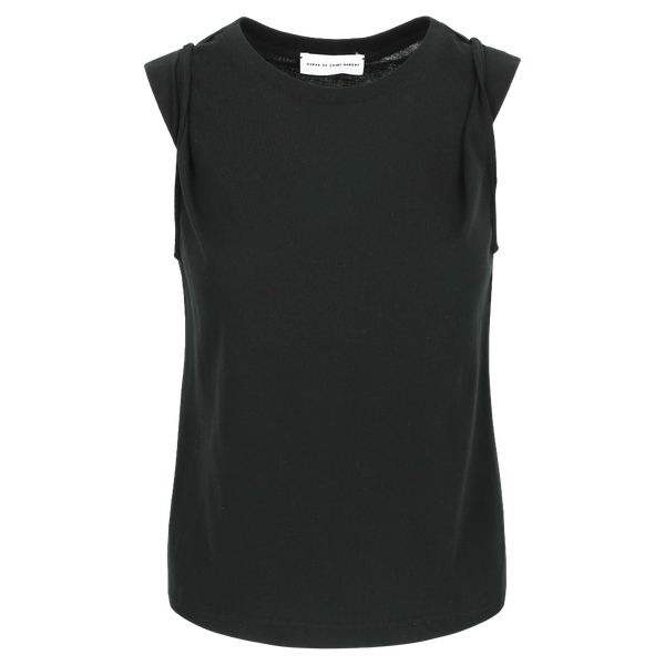 SARAH DE SAINT HUBERT black muscle T-shirt made of cotton jersey with snap buttons at the shoulders. A timeless feminine T-shirt with a straight fit.