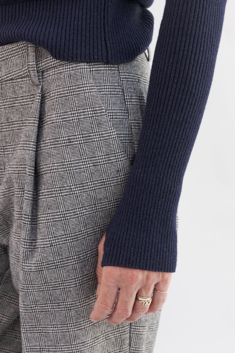 SARAH DE SAINT HUBERT navy fine roll-neck knitted jumper made of viscose - cashmere blend with hand embroidered chains. Boyish and straight fit.