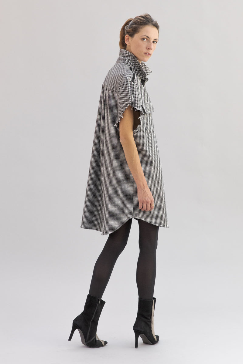 ERINA oversized shirt dress - 'Pied de Poule'