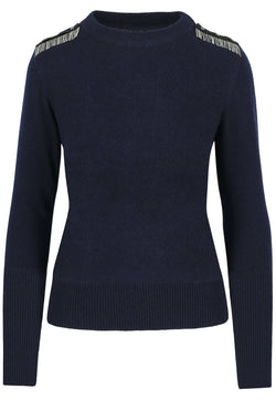 SARAH DE SAINT HUBERT navy crew neck knitted jumper made of viscose - cashmere blend with hand embroidered chains at the shoulders. A timeless knitted jumper with a straight/relaxed fit.