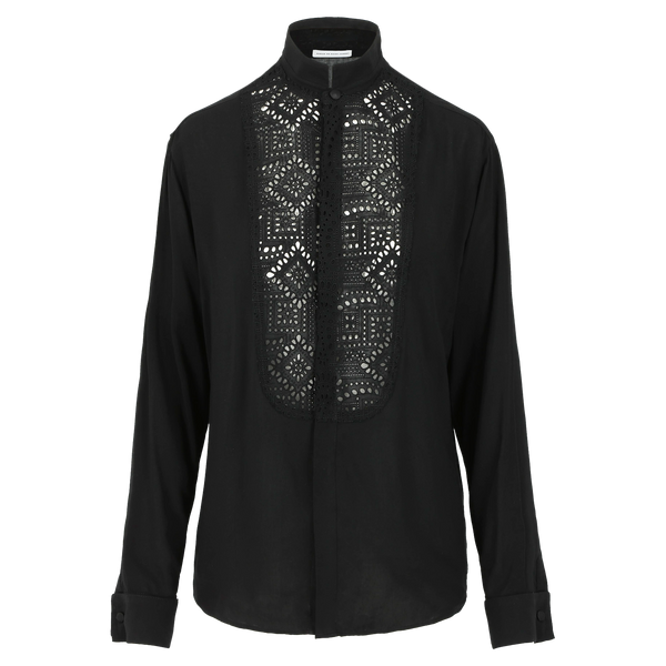 SARAH DE SAINT HUBERT fluid black smoking shirt made of viscose with broderie anglaise at the frontside. A timeless feminine shirt with a straight/relaxed fit.