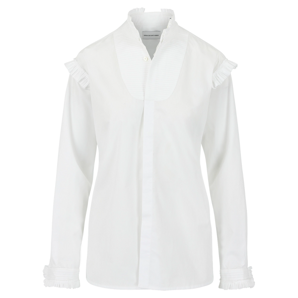 SARAH DE SAINT HUBERT white smoking shirt made of viscose with plissé details. A timeless feminine shirt with a straight/relaxed fit.