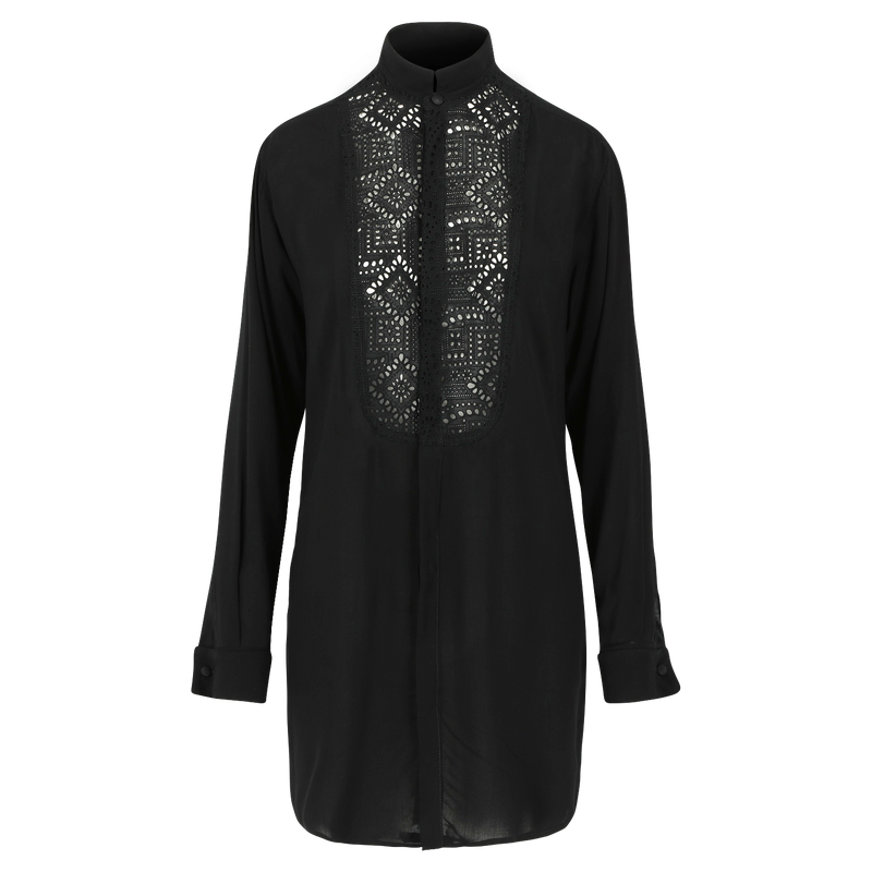 SARAH DE SAINT HUBERT fluid black smoking shirt dress made of viscose with broderie anglaise at the frontside. A timeless feminine shirt dress with a straight/relaxed fit.