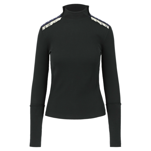 SARAH DE SAINT HUBERT black ribbed mid-high turtleneck collar made of cotton jersey with hand embroidered chains. Straight and relaxed fit.