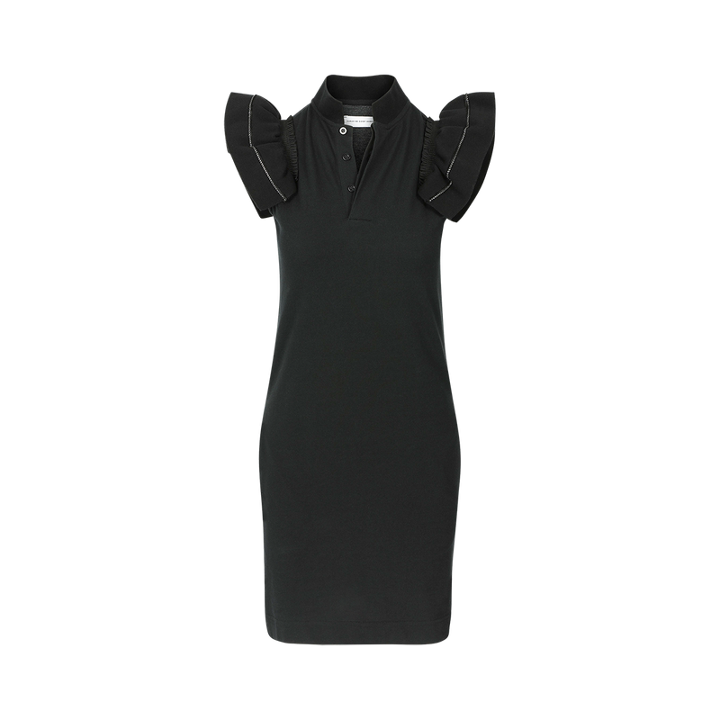 SARAH DE SAINT HUBERT black piqué polo shirt dress made of cotton with iconic ribbed butterfly sleeves. Feminine silhouette.