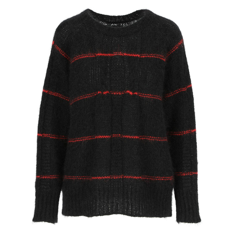 SARAH DE SAINT HUBERT black with red stripes jumper made of mohair. A timeless jumper with a straight/relaxed fit.