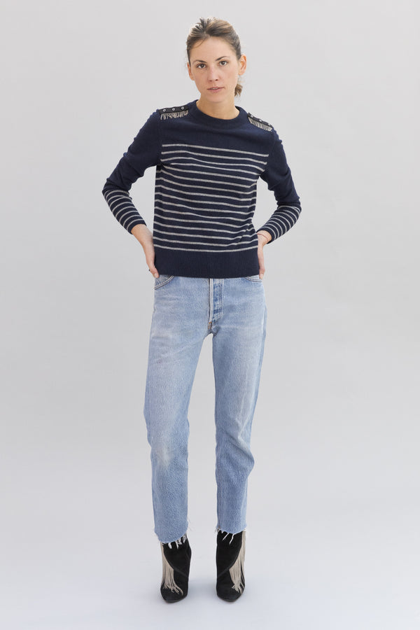 SARAH DE SAINT HUBERT navy with light grey stripes crew neck knitted jumper made of viscose - cashmere blend with hand embroidered chains at the shoulders. A timeless knitted jumper with a straight/relaxed fit.