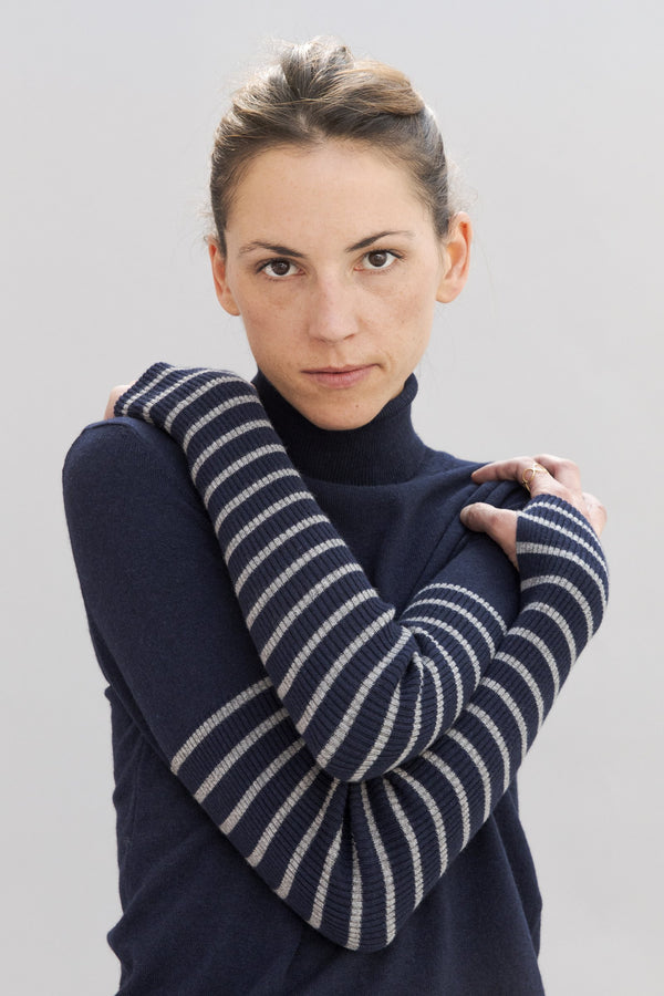 SARAH DE SAINT HUBERT navy with light grey stripes fine roll-neck knitted jumper made of viscose - cashmere blend. Boyish and straight fit.