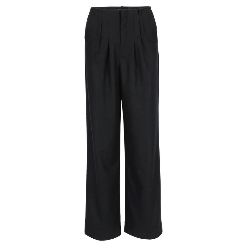 SARAH DE SAINT HUBERT black high-waisted trousers made of light virgin wool with wide, straight legs. Fluid, comfy and relaxed fit