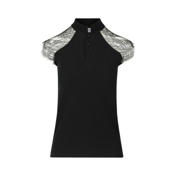 SARAH DE SAINT HUBERT black piqué polo shirt made of cotton piqué jersey with calais lace insert at the shoulders. A timeless feminine polo shirt with a straight/tiny fit.