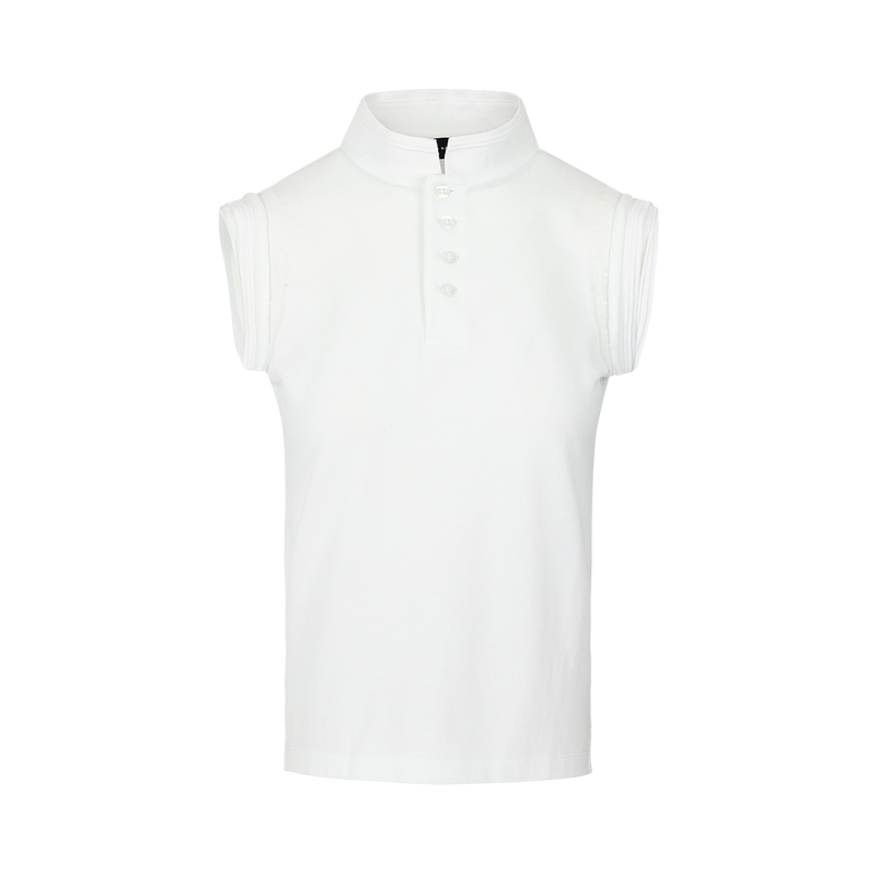 SARAH DE SAINT HUBERT white piqué polo shirt made of jersey with iconic rib border details. A timeless feminine shirt with a straight fit.