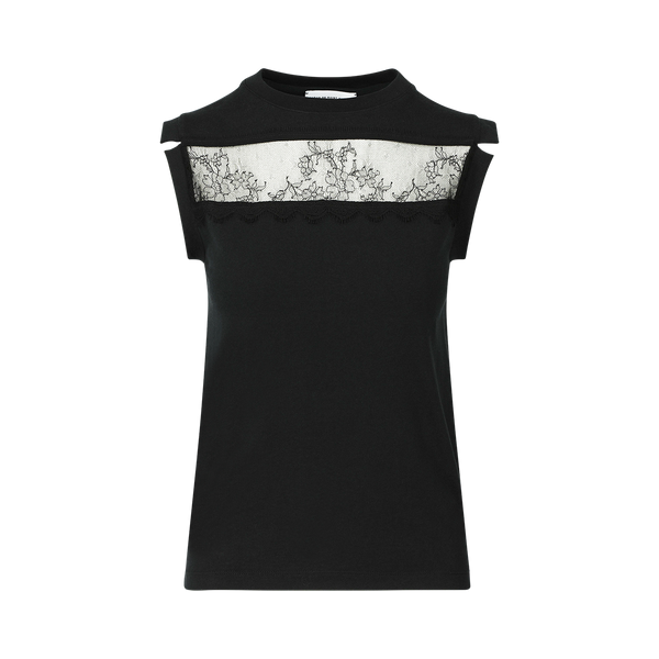 SARAH DE SAINT HUBERT black T-shirt made of jersey with calais lace details at the frontside. A timeless feminine muscle T-shirt with a straight fit.