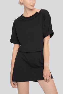 SARAH DE SAINT HUBERT oversized black T-shirt dress made of cotton piqué jersey with short rolled-up sleeves. Comfy and straight fit.