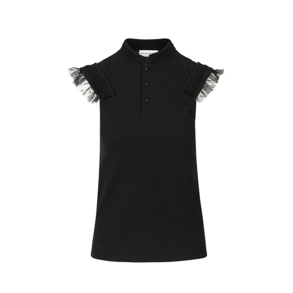 SARAH DE SAINT HUBERT black piqué polo shirt made of cotton piqué jersey with plumetis ruffles. Feminine and comfy fit.