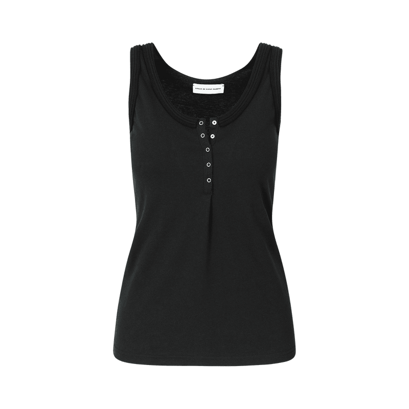 SARAH DE SAINT HUBERT black tank top made of jersey with polo rib border details and press buttons placket at frontside. A timeless feminine basic with a straight fit.
