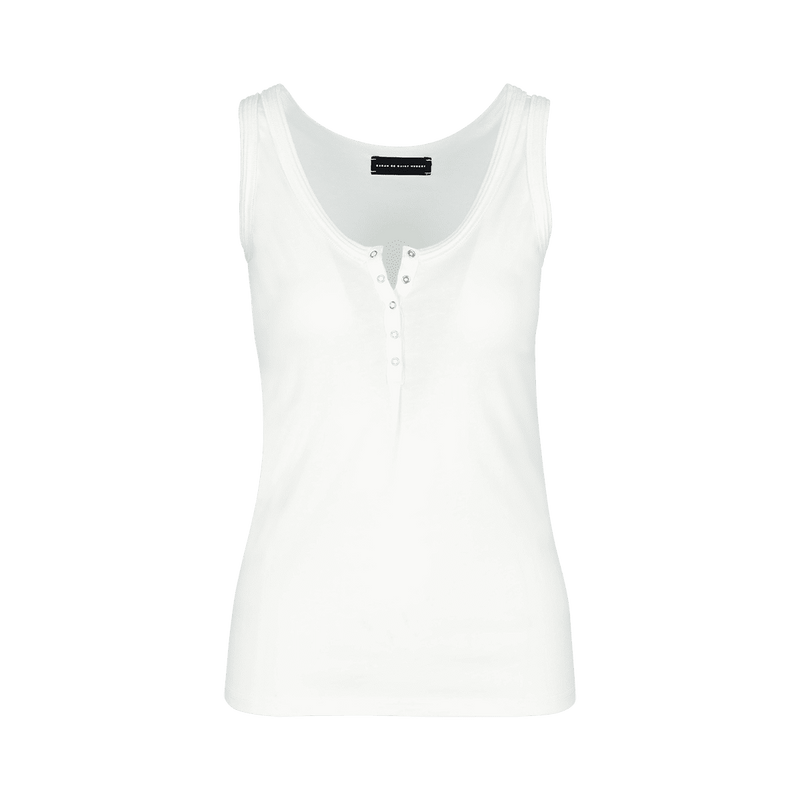 SARAH DE SAINT HUBERT white tank top made of jersey with polo rib border details and press buttons placket at frontside. A timeless feminine basic with a straight fit.
