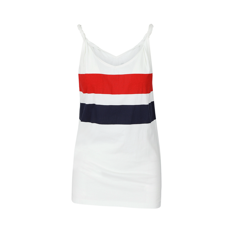 SARAH DE SAINT HUBERT white printed red/navy stripes tank top made of cotton jersey with twisted shoulder straps and v-neck line. A timeless piece.