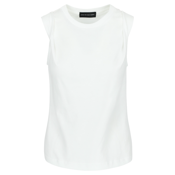 SARAH DE SAINT HUBERT white muscle T-shirt made of cotton jersey with snap buttons at the shoulders. A timeless feminine T-shirt with a straight fit.