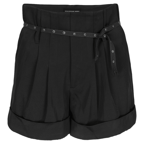SARAH DE SAINT HUBERT black high-waisted shorts made of viscose - cotton blend with double waist loops. A feminine and flattering fit.