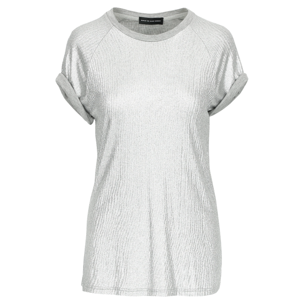 SARAH DE SAINT HUBERT silver T-shirt made of viscose. Feminine, fluid and straight fit.