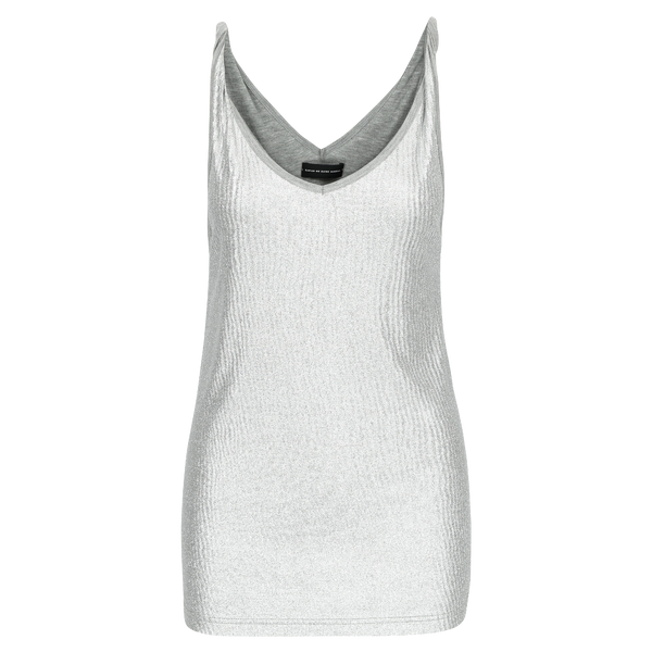 SARAH DE SAINT HUBERT silver tank top made of viscose with twisted shoulder straps and v-neck line. A timeless piece and relaxed fit.