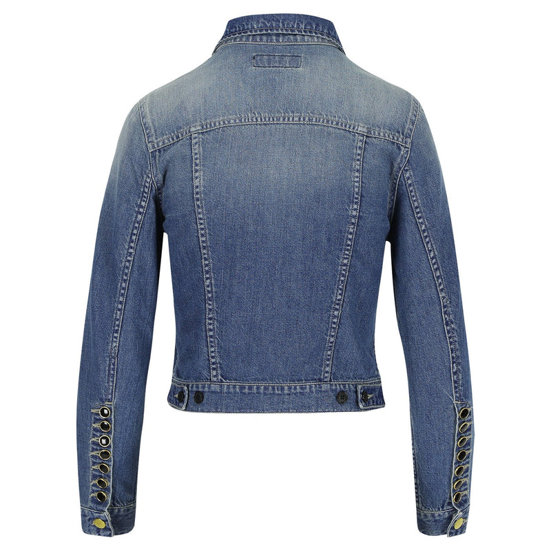 SARAH DE SAINT HUBERT denim jacket made of cotton with signature buttons at the upper front and sleeves cuffs. Slim fit, slightly cropped and pulls in at the waist giving you a flattering silhouette.
