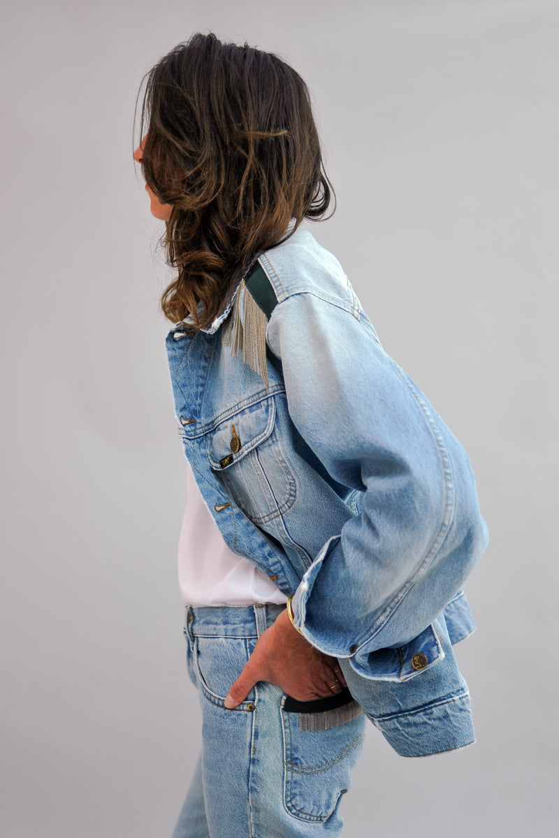 ROMY BOYFRIEND - upcycled jeans jacket with signature chains