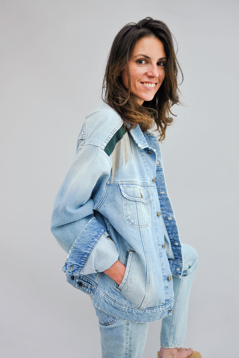 SARAH DE SAINT HUBERT upcycled jeans jacket made of cotton with hand embroidered chains. Boyish and oversize fit.