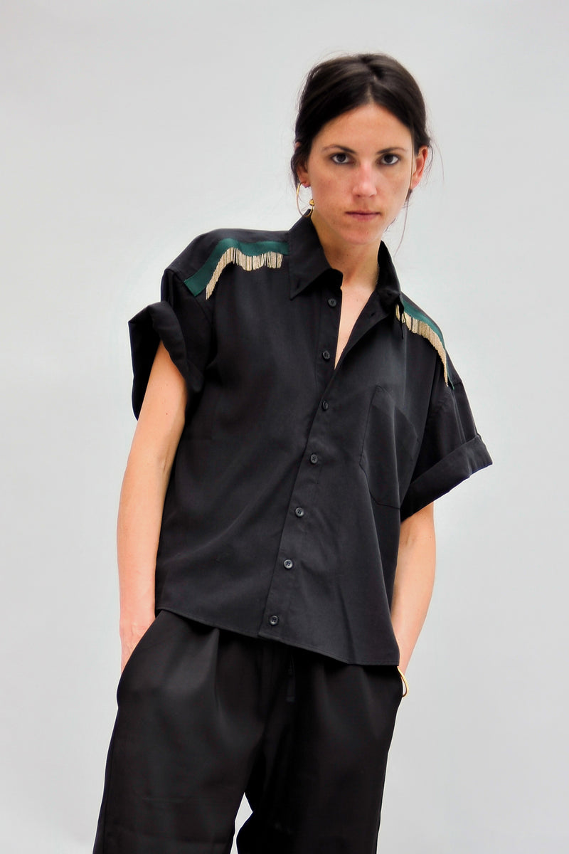SARAH DE SAINT HUBERT oversized fluid black shirt with hand embroidered chains. Boyish and straight fit.