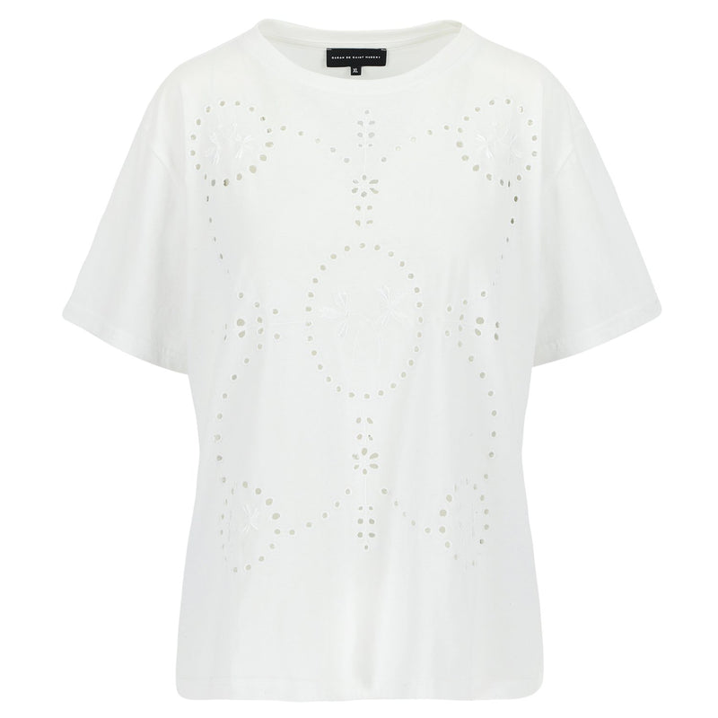SARAH DE SAINT HUBERT white crew neck T-shirt made of cotton jersey with broderie anglaise embroidery design at the front. Relaxed straight fit.