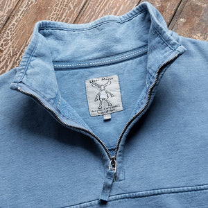 1/4 Zip Fleece Sweater in Denim - Neck Detail