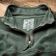 Uber Moose 1/4 Zip Fleece Sweater in Green - Neck Detail