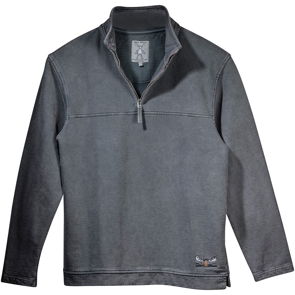 Uber Moose 1/4 Zip Fleece sweater in Charcoal