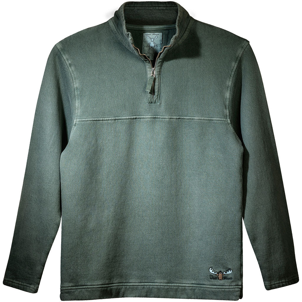 Uber Moose 1/4 Zip Fleece Sweater in Green