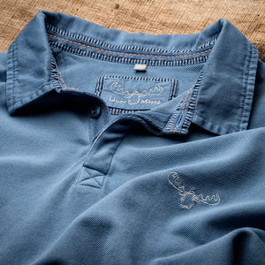 Pique Polo Shirt Detail in Blue